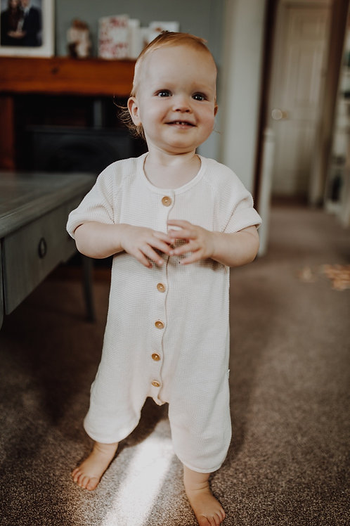 Waffle Cotton  Romper (ivory)