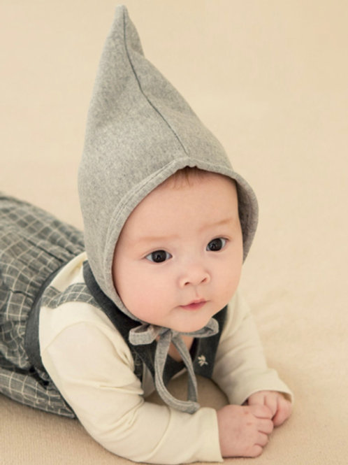 Grey Cotton Pixie Bonnet