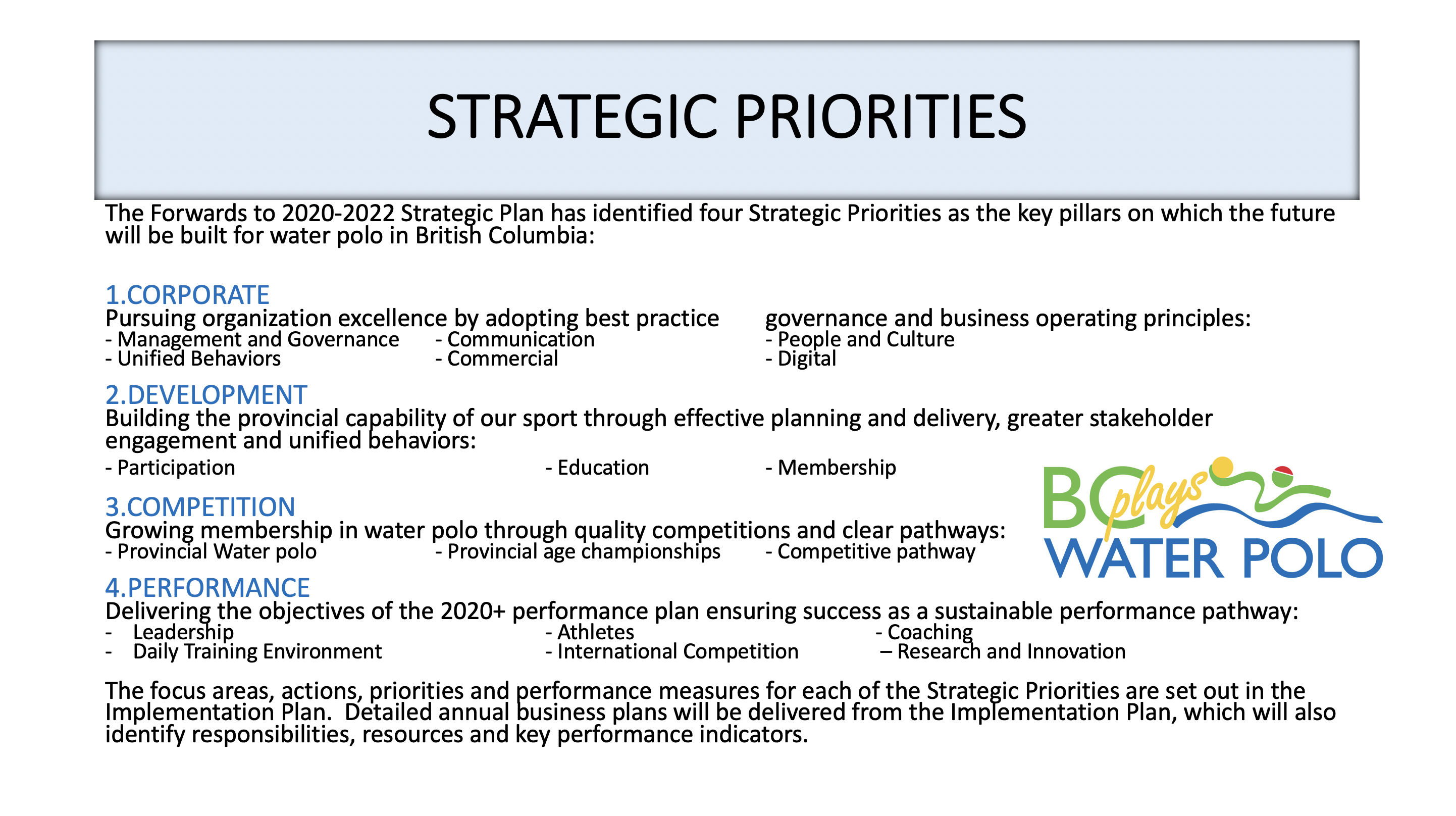 Strategic Priorities.