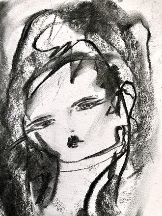 fashion Portrait charcoal drawing