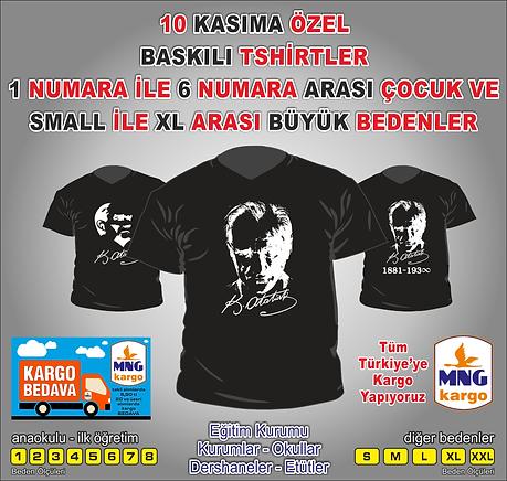 Siyah Beyaz Atatürk Baskılı Tshirt