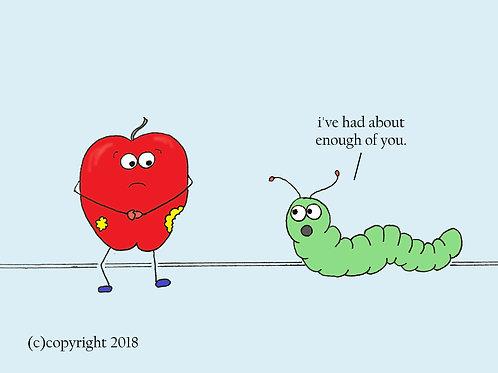 apple + worm (grumpy)