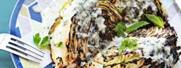 Grilled Cabbage with Yogurt and Mint