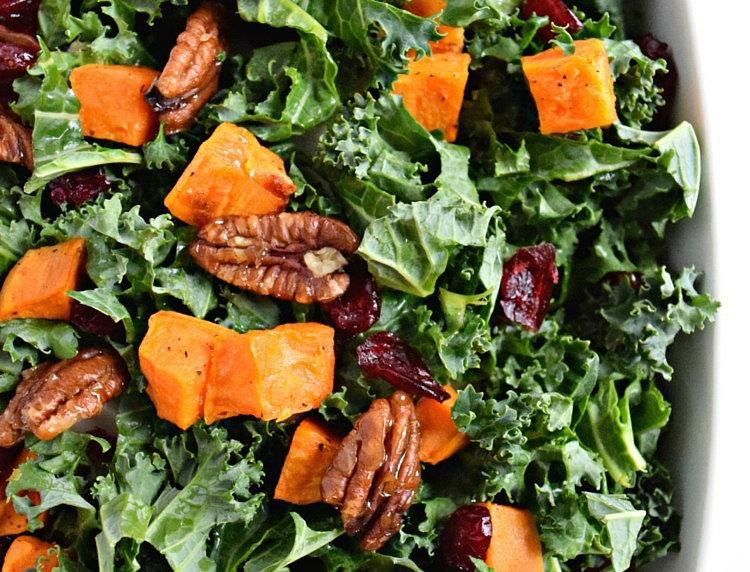Shredded Collard Green Salad with Roasted Sweet Potatoes