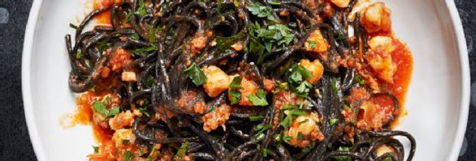 Squid Ink Linguine with Shrimp and Cherry Tomatoes