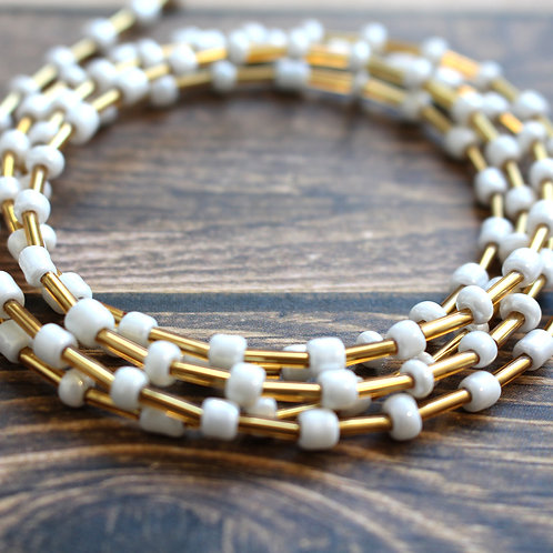 Gold and White African Waist Beads