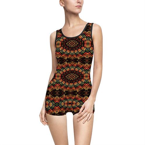Brown Mosaic Vintage Swimsuit