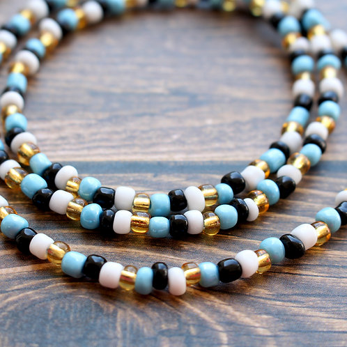 Blue, Black, Gold and White African Waist Beads