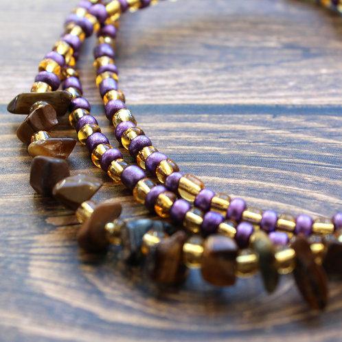 Purple and Tiger Eye African Waist Beads