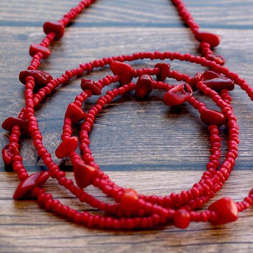Red Bamboo African Waist Beads