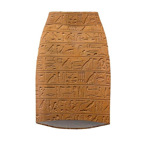 Hieroglyphics Pencil Skirt