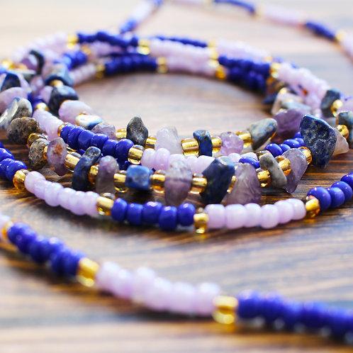 Amethyst and Lapis Lazuli African Waist Beads