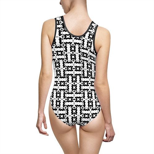 Black Mosaic Classic One-Piece Swimsuit