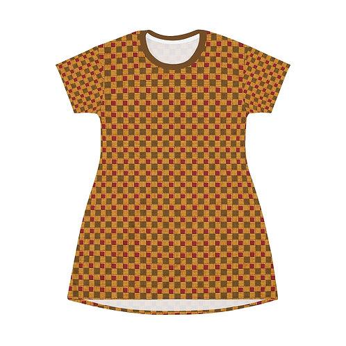 Brown Plaid T-Shirt Dress