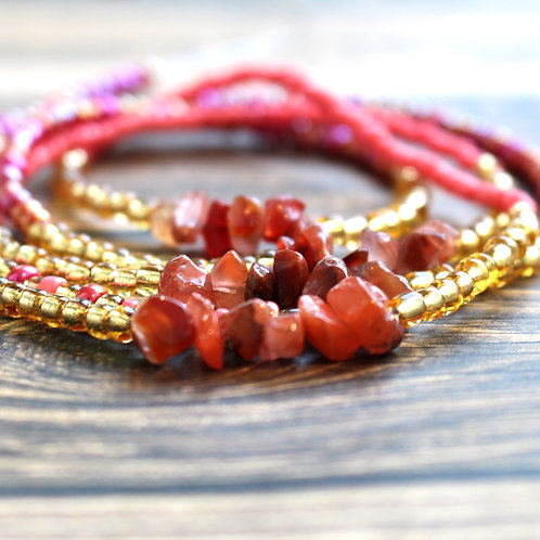 Pink and Red Agate African Waist Beads
