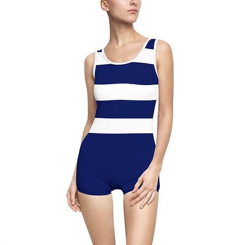 Blue Stripe Vintage Swimsuit - Modest Swimwear