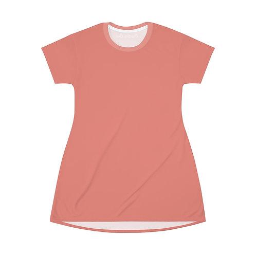 Burnt Coral T-Shirt Dress