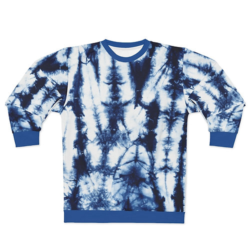 Dark Blue Tie Dye Print Sweatshirt