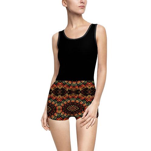 Black & Brown Mosaic Vintage Swimsuit - Modest Swimwear