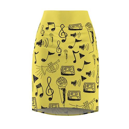 Illuminating Notes Pencil Skirt