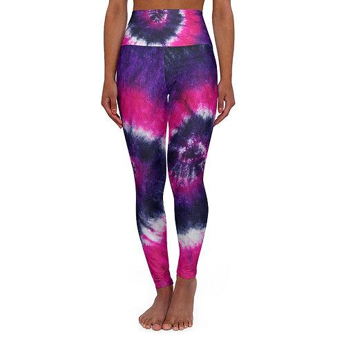 Pink & Purple High Waisted Tie Dye Yoga Leggings