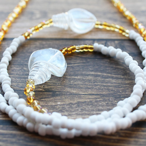 Crystal White African Waist Beads