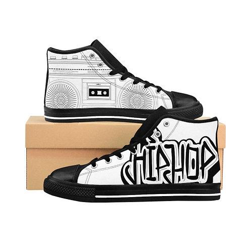 White Hip-Hop Men's High-top Sneakers