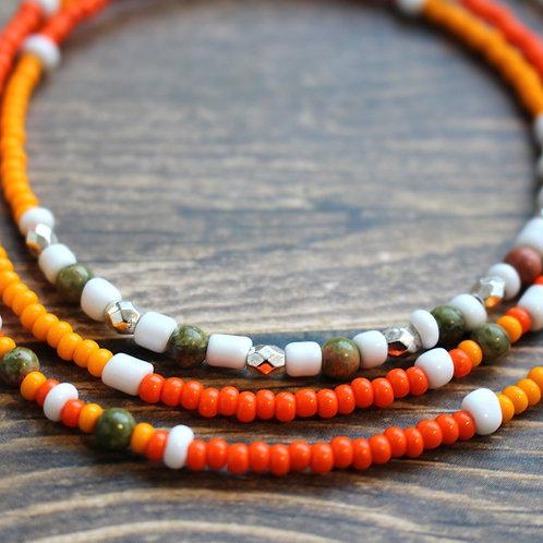 Orange and Unakite African Waist Beads