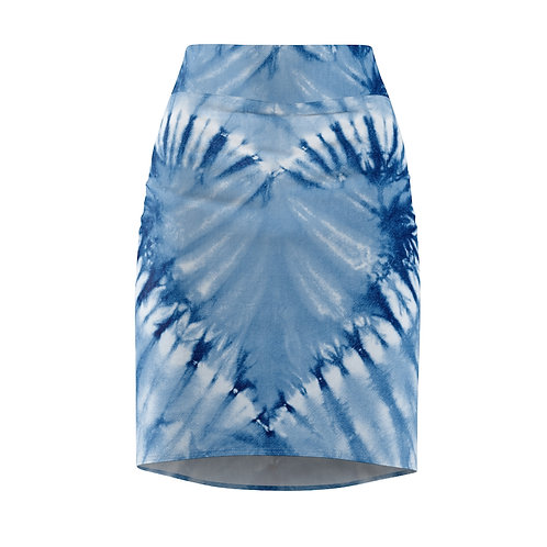Moyo Cerulean Tie Dye Pencil Skirt