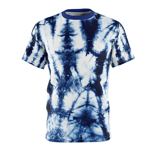 Dark Blue Tie Dye Print Unisex Tee