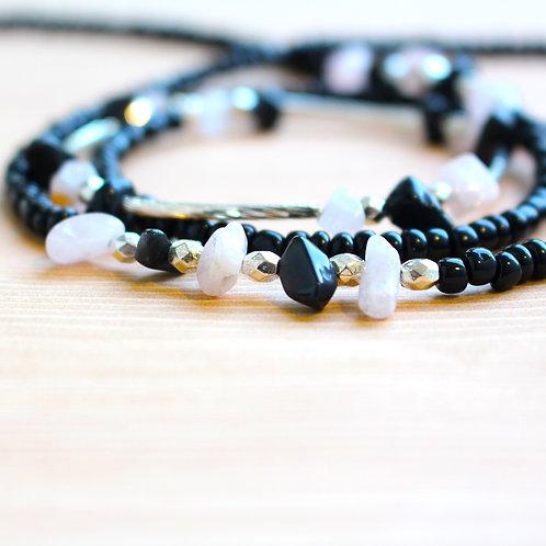 Black and Rose Quartz African Waist Beads