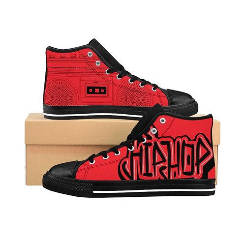 Red Hip-Hop Men's High-top Sneakers