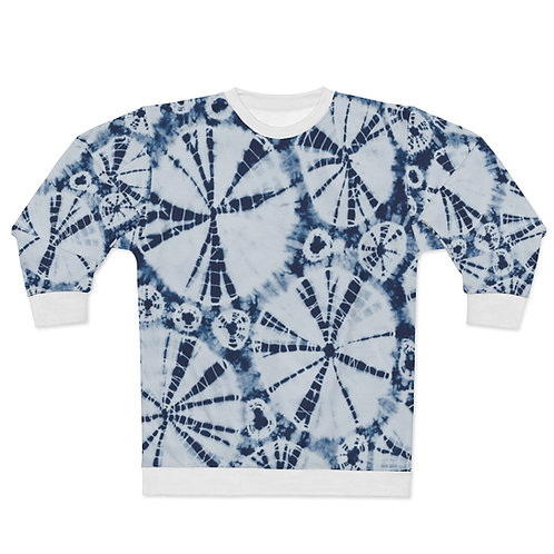 Blue Zag Dipped Tie Print Dye Sweatshirt