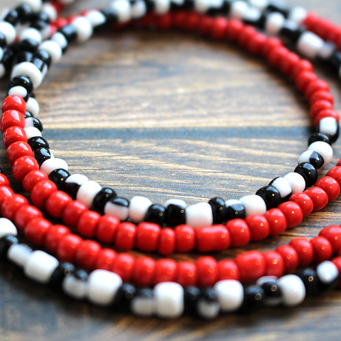 Red Black and White African Waist Beads