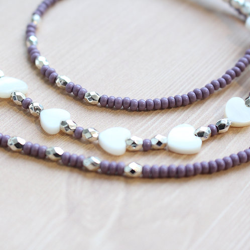 Purple and White Shell Heart African Waist Beads
