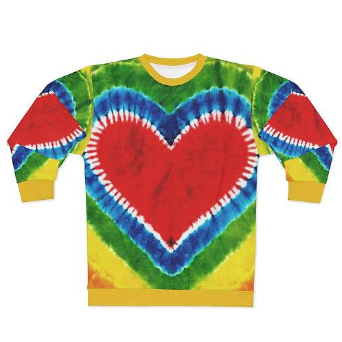 Rainbow Heart Tie Dye Print Sweatshirt
