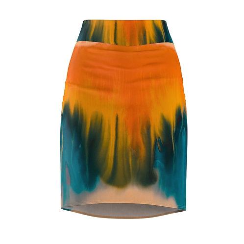 Machungwa Tie Dye Pencil Skirt