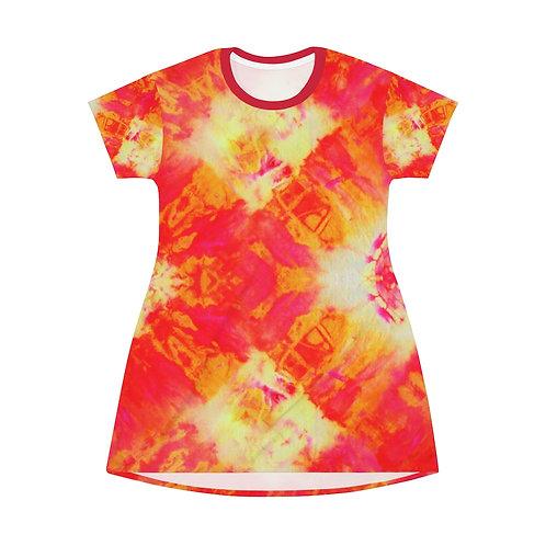 Red Orange T-Shirt Tie Dye Dress