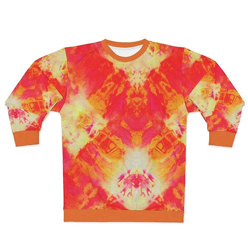 Orange Tie Dye Print Sweatshirt