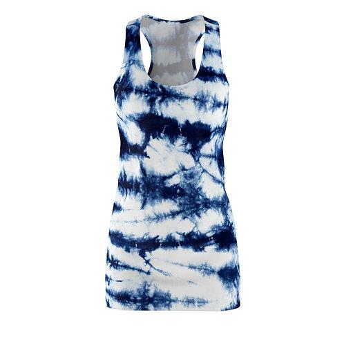 Blue Stripe Racerback Tie Dye Dress