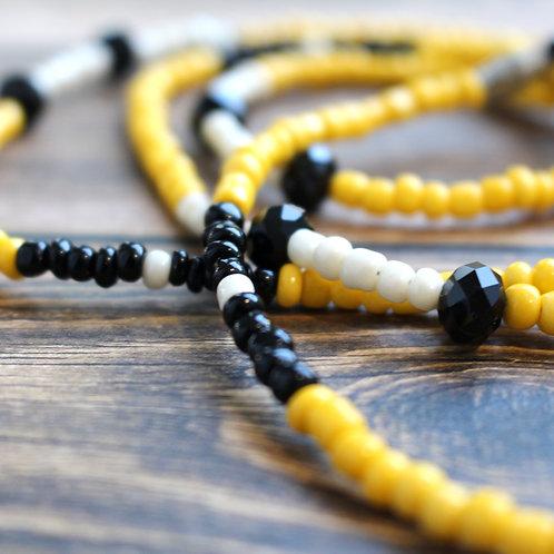 Yellow & Black Jasper African Waist Beads