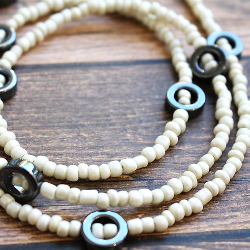 Hematite and Cream African Waist Bead