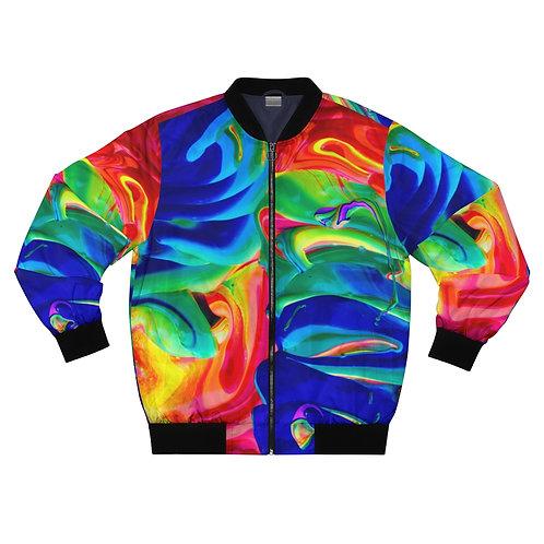 Rainbow Splatter Bomber Jacket