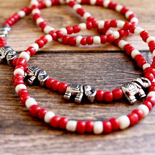 Red and Cream Elephant Waist Beads