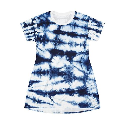 Stripe T-Shirt Blue Tie Dye Dress