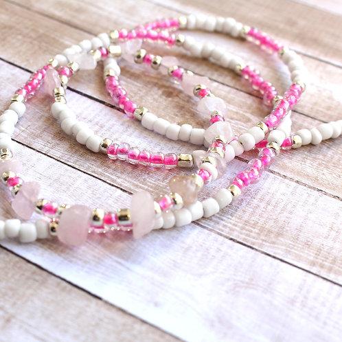 Pink and Rose Quartz African Waist Beads