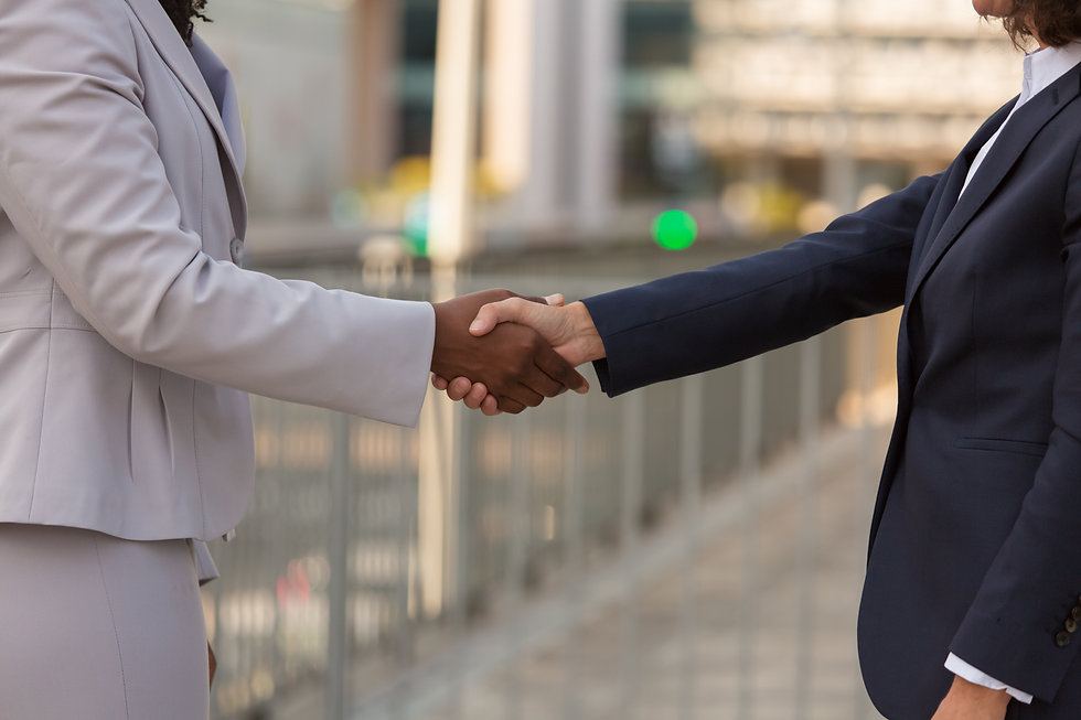 Businesswomen shaking hands with each other. Closeup of handshake of Caucasian and African