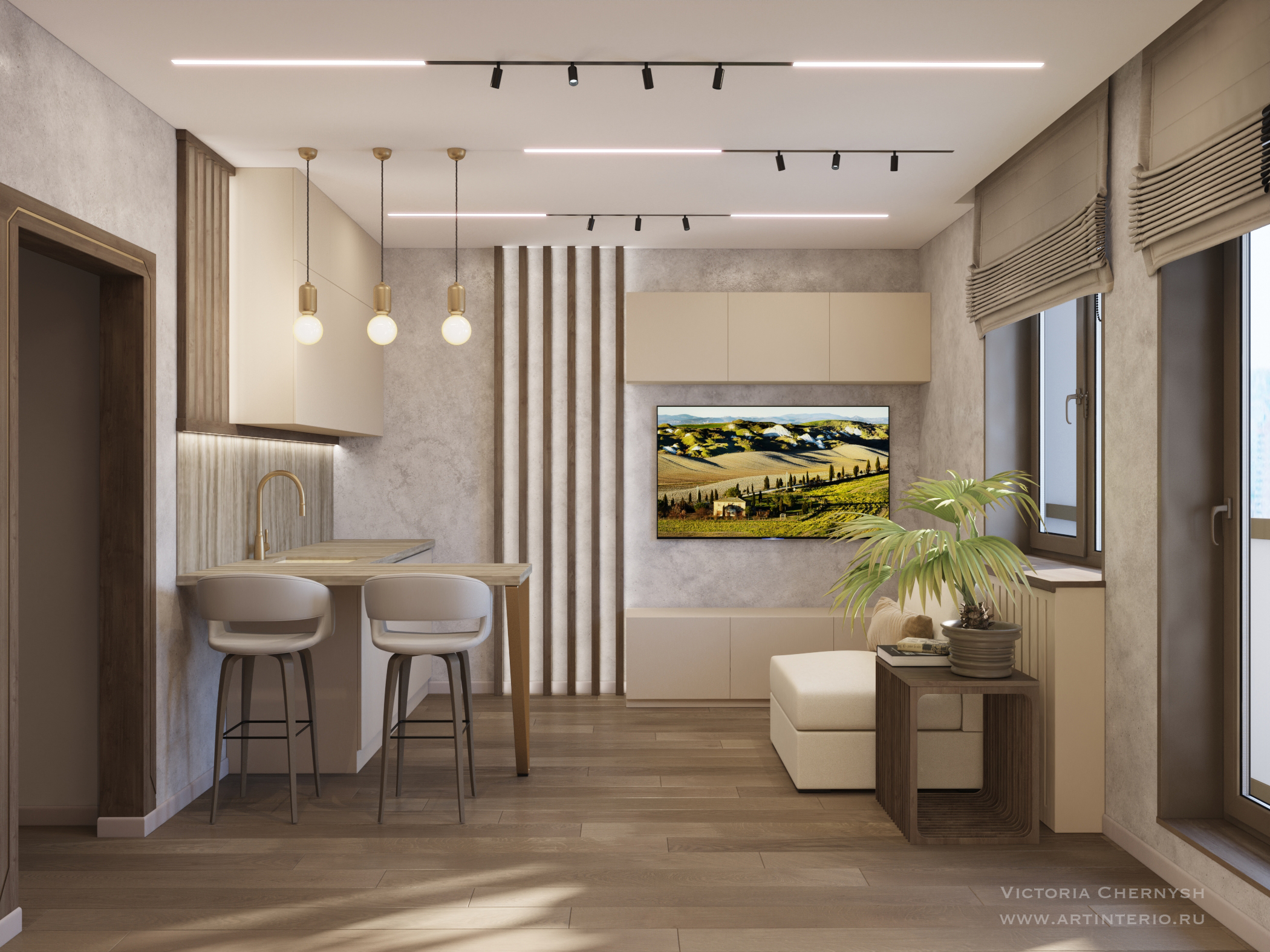 Дизайн интерьера квартиры-студии в Санкт-Петербурге