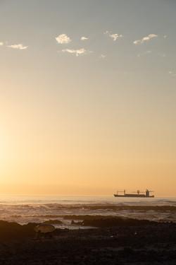 A ship leaving port