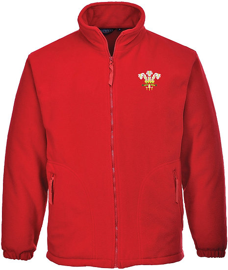 Red Fleece showing placement of design